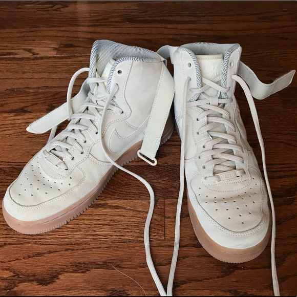 Nike Shoes Cream Suede Air Force 1 Mid Womens Size 8 Poshmark